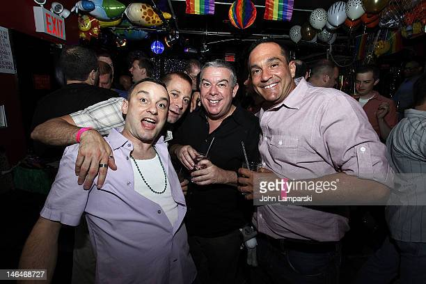 Josh Pugliese Stephen Battista Elvis Duran and Richie Portello attend Alex Carr's birthday celebration at The Stonewall Inn on June 16 2012 in New...