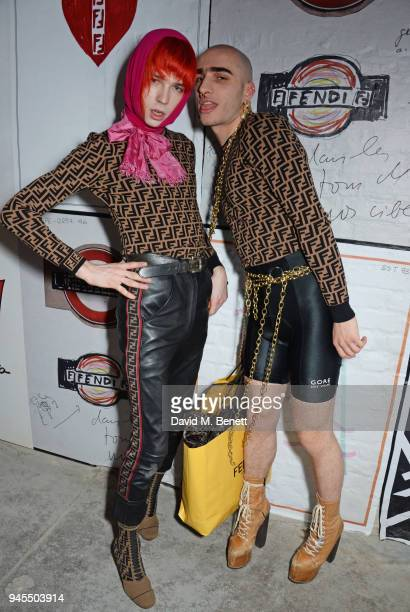 Josh Quinton and Andy Bradin of Disco Smack attend the FENDI FF Reloaded Experience on April 12 2018 in London England