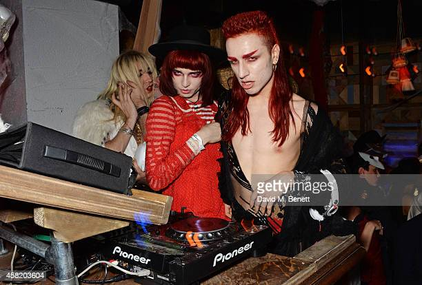 Josh Quinton and Andy Bradin of Disco Smack DJ at 'Death Of A Geisha' hosted by Fran Cutler and Cafe KaiZen with Grey Goose on October 31 2014 in...