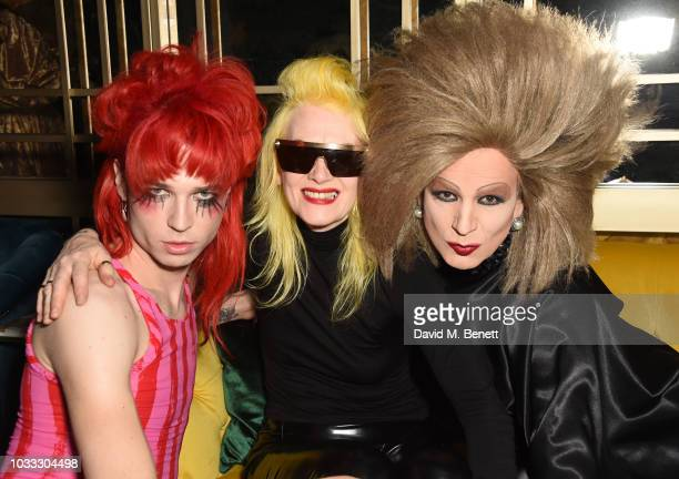 Josh Quinton Pam Hogg and Xavier Arakistain attend an after party celebrating the Pam Hogg catwalk show during London Fashion Week September 2018 at...