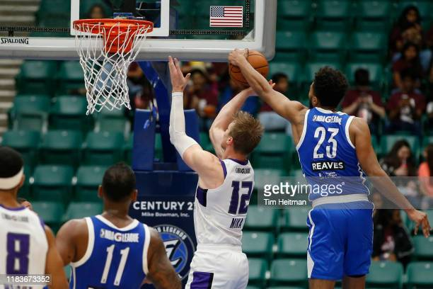 Josh Reaves of the Texas Legends blocks the shot of Eric Mika of the Stockton Kings during the third quarter on November 20 2019 at Comerica Center...