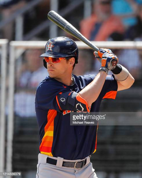 Josh Reddick of the Houston Astros in action against the Atlanta Braves during a Grapefruit League spring training game at CoolToday Park on March 10...