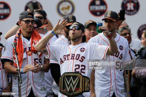 Josh Reddick of the Houston Astros is introduced during the Houston Astros Victory Parade on November 3 2017 in Houston Texas The Astros defeated the...