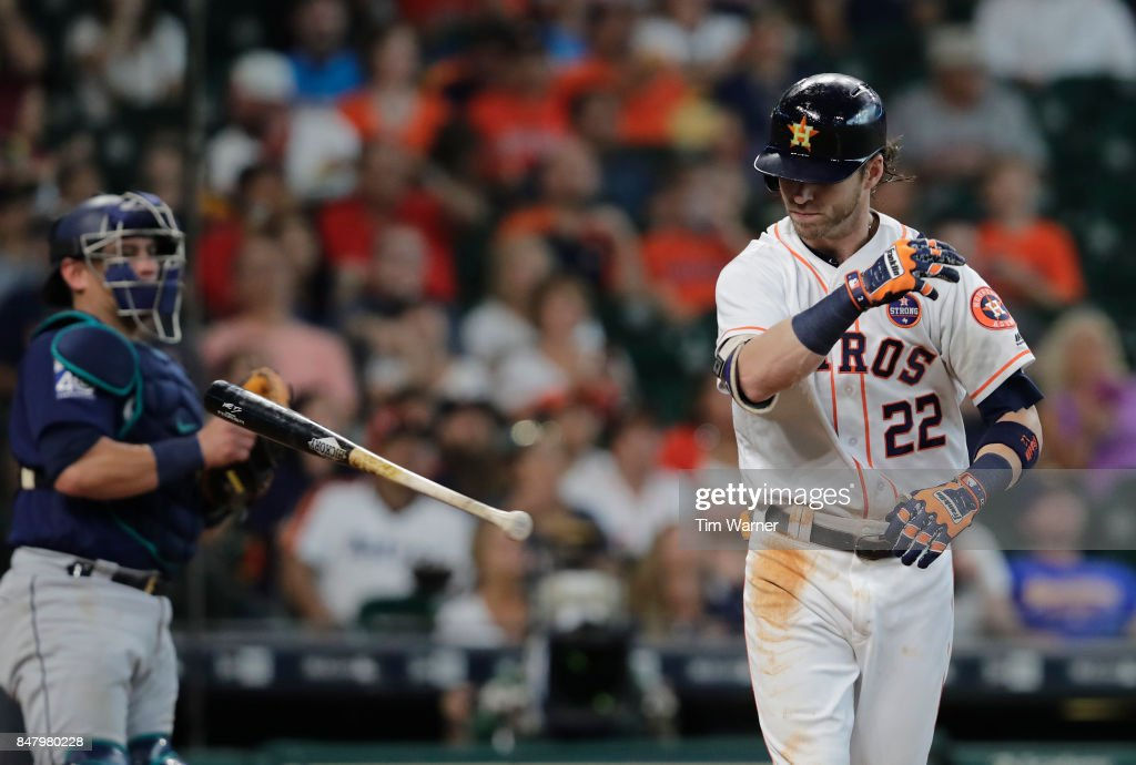 Josh Reddick #22 of the Houston Astros reacts in the fourth inning against the Seattle Mariners at Minute Maid Park on September 16, 2017 in Houston, Texas.