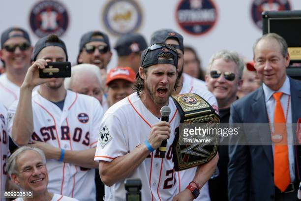 Josh Reddick of the Houston Astros speaks during the Houston Astros Victory Parade on November 3 2017 in Houston Texas The Astros defeated the Los...
