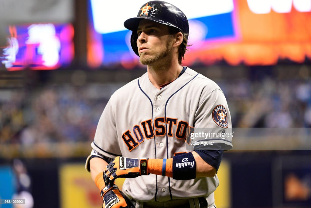 Josh Reddick #22 of the Houston Astros walks off the field after grounding out in the ninth inning against the Tampa Bay Rays on June 30, 2018 at Tropicana Field in St Petersburg, Florida. The Rays won 5-2.