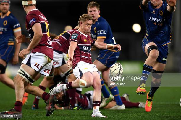 Josh Renton of Southland kicks the ball during the round one Bunnings NPC match between Otago and Southland at Forsyth Barr Stadium, on August 07 in...