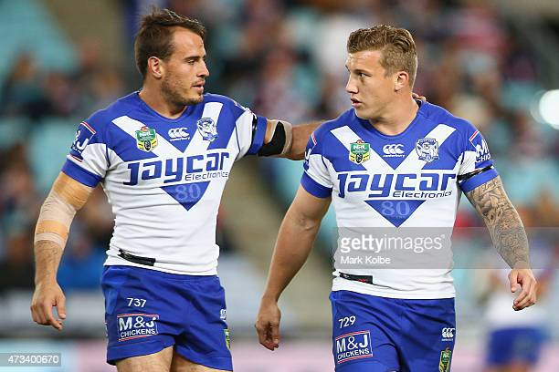 Josh Reynolds and Trent Hodkinson of the Bulldogs speak as they warmup ahead of the round 10 NRL match between the Canterbury Bulldogs and the Sydney...