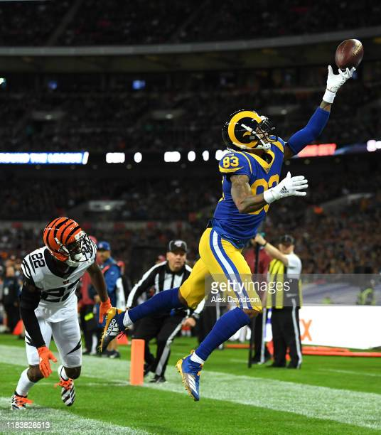 Josh Reynolds of Los Angeles Rams fails to catch the ball on a third down during the NFL game between Cincinnati Bengals and Los Angeles Rams at...