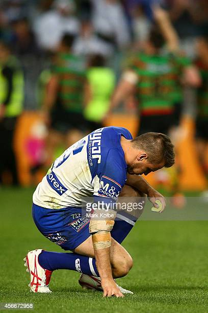 Josh Reynolds of the Bulldogs dejected after the 2014 NRL Grand Final match between the South Sydney Rabbitohs and the Canterbury Bulldogs at ANZ...