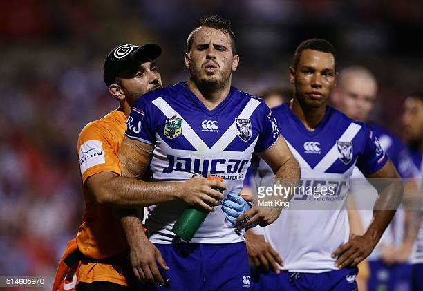 Josh Reynolds of the Bulldogs is assisted by a trainer for an injury during the round two NRL match between the Penrith Panthers and the Canterbury...