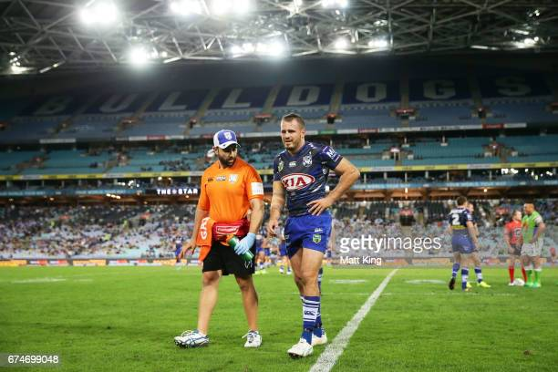 Josh Reynolds of the Bulldogs leaves the field with an injury during the round nine NRL match between the Canterbury Bulldogs and the Canberra...