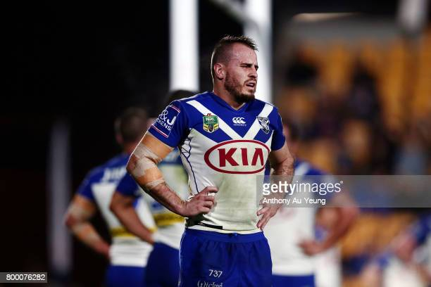Josh Reynolds of the Bulldogs reacts during the round 16 NRL match between the New Zealand Warriors and the Canterbury Bulldogs at Mt Smart Stadium...