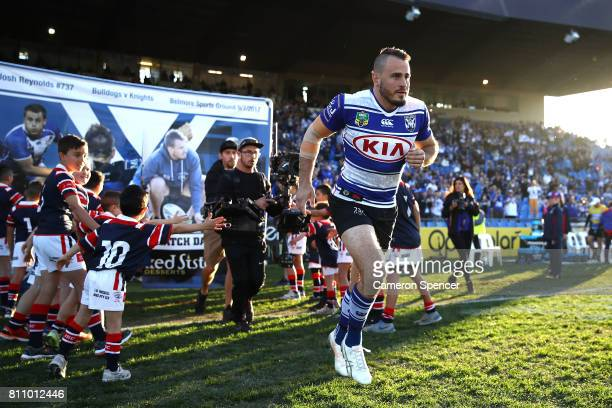 Josh Reynolds of the Bulldogs runs onto the field during the round 18 NRL match between the Canterbury Bulldogs and the Newcastle Knights at Belmore...