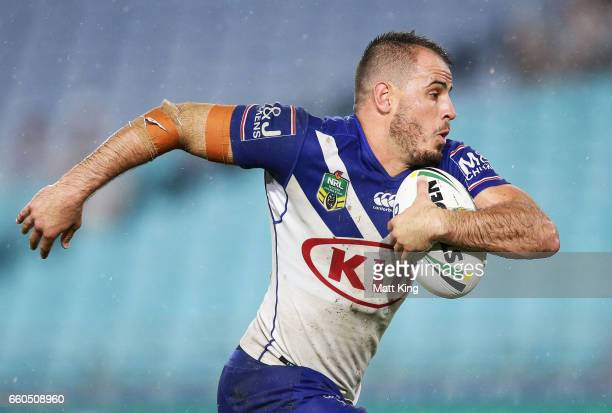 Josh Reynolds of the Bulldogs runs with the ball during the round five NRL match between the Canterbury Bulldogs and the Brisbane Broncos at ANZ...