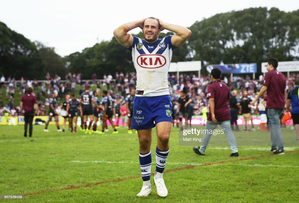 Josh Reynolds of the Bulldogs walks from the field dejected after the round four NRL match between the Manly Warringah Sea Eagles and the Canterbury Bulldogs at Lottoland on March 25, 2017 in Sydney, Australia.