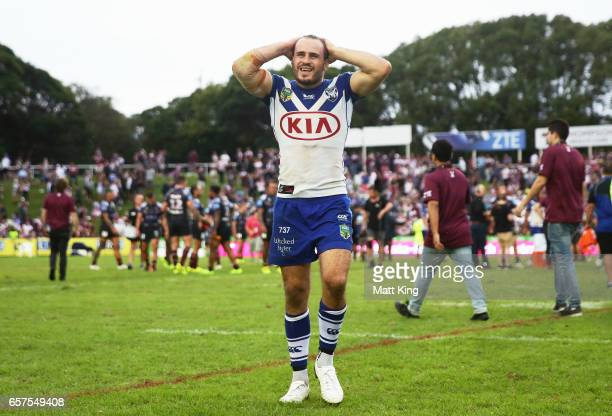 Josh Reynolds of the Bulldogs walks from the field dejected after the round four NRL match between the Manly Warringah Sea Eagles and the Canterbury...