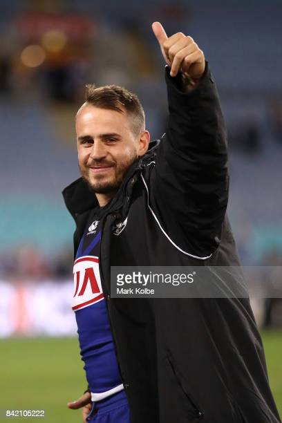 Josh Reynolds of the Bulldogs waves to the crowd during the round 26 NRL match between the St George Illawarra Dragons and the Canterbury Bulldogs at...