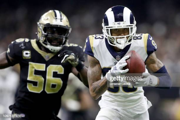 Josh Reynolds of the Los Angeles Rams catches a pass against the New Orleans Saints during the fourth quarter in the NFC Championship game at the...