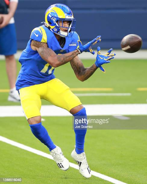 Josh Reynolds of the Los Angeles Rams makes a reception during the second half against the San Francisco 49ers at SoFi Stadium on November 29, 2020...