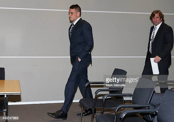 Josh Reynolds of the New South Wales Blues and Bulldogs coach Des Hasler arrive at an NRL Origin judiciary hearing into his dangerous throw charge at...