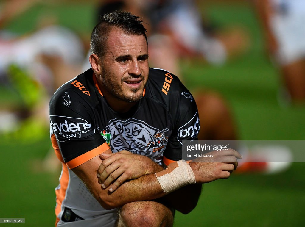Josh Reynolds of the Tigers looks on during the warm up before the start of the NRL trial match between the North Queensland Cowboys and the Wests Tigers at Barlow Park on February 17, 2018 in Cairns, Australia.