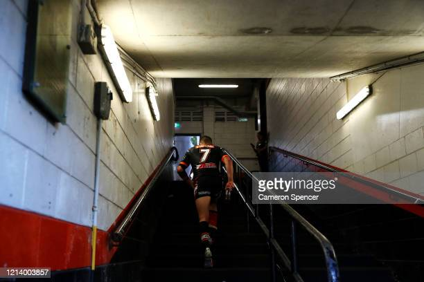 Josh Reynolds of the Wests Tigers walks up the players race following the round 2 NRL match between the Wests Tigers and the Newcastle Knights at...