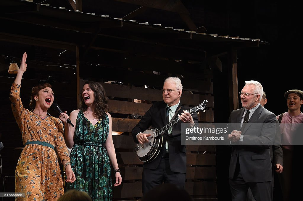 Josh Rhodes, Carmen Cusack, Edie Brickell, Steve Martin, and Walter Bobbie perform during 'Bright Star' Opening Night on Broadway Curtain Call at The Cort Theatre on March 24, 2016 in New York City.