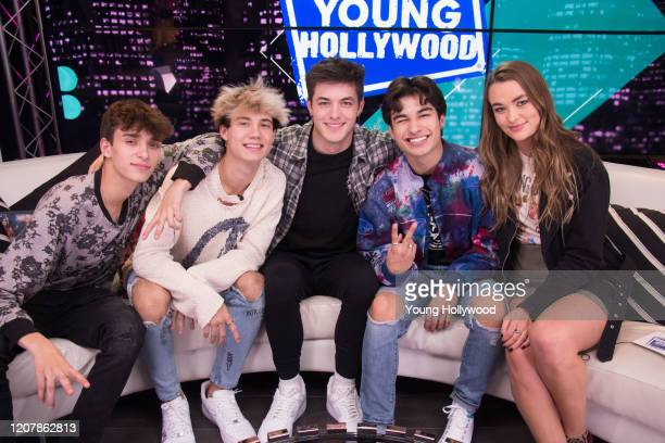 Josh Richards Jaden Hossler Griffin Johnson Kio Cyr and host Joely Live at the Young Hollywood Studio on February 21 2020 in Los Angeles California