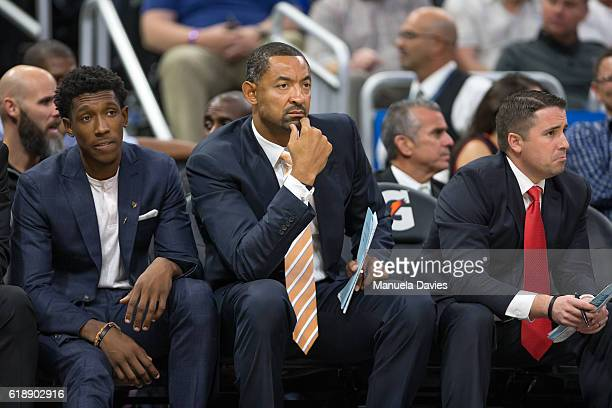 Josh Richardson and assistant coach Juwan Howard of the Miami Heat on the bench on opening night against the Orlando Magic on October 26 2016 at...