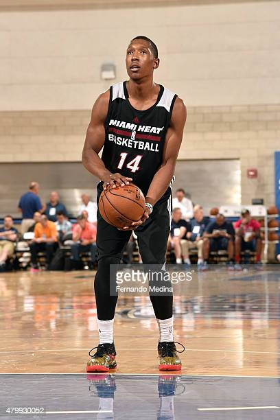 Josh Richardson of the Miami Heat attempts a free throw against the Indiana Pacers on July 4 2015 at Amway Center in Orlando Florida NOTE TO USER...