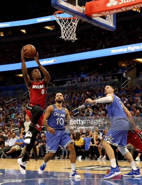 Josh Richardson of the Miami Heat attempts a shot during the game against the Orlando Magic at Amway Center on October 17 2018 in Orlando Florida...
