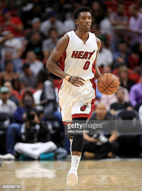 Josh Richardson of the Miami Heat brings the ball up during a game against the Boston Celtics at American Airlines Arena on November 28 2016 in Miami...