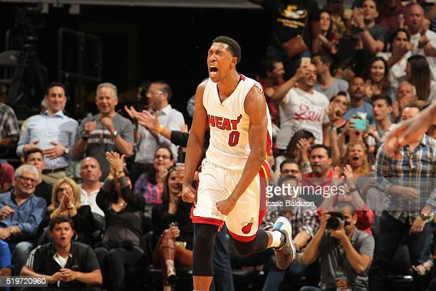 Josh Richardson of the Miami Heat celebrates against the Chicago Bulls on April 7 2016 at AmericanAirlines Arena in Miami Florida NOTE TO USER User...