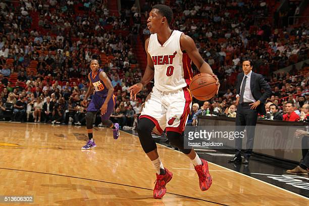 Josh Richardson of the Miami Heat defends the ball against the Phoenix Suns during the game on March 3 2016 at American Airlines Arena in Miami...