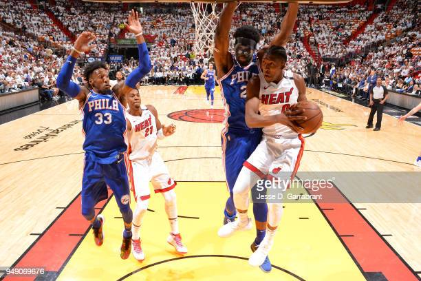 Josh Richardson of the Miami Heat drives to the basket against Joel Embiid of the Philadelphia 76ers in Game Three of Round One of the 2018 NBA...