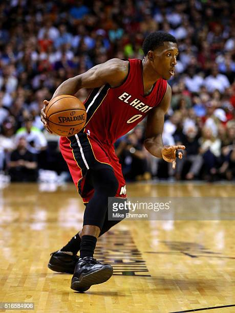 Josh Richardson of the Miami Heat drives to the basket during a game against the Cleveland Cavaliers at American Airlines Arena on March 19 2016 in...