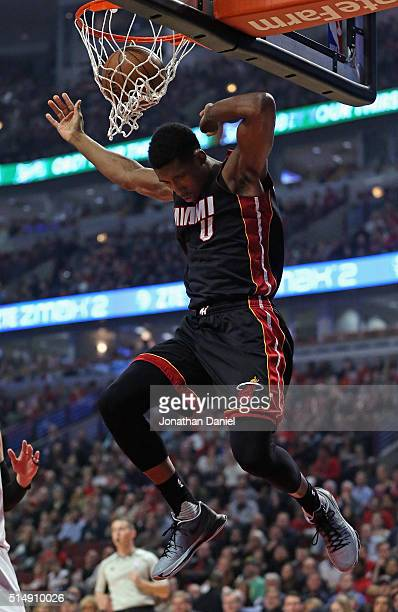 Josh Richardson of the Miami Heat dunks against the Chicago Bulls at the United Center on March 11 2016 in Chicago Illinois NOTE TO USER User...