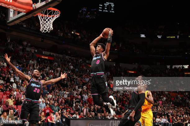 Josh Richardson of the Miami Heat dunks the ball against the Milwaukee Bucks on December 22 2018 at American Airlines Arena in Miami Florida NOTE TO...