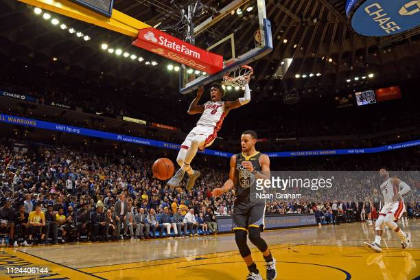 Josh Richardson of the Miami Heat dunks the ball against the Golden State Warriors on February 10 at ORACLE Arena in Oakland California NOTE TO USER...
