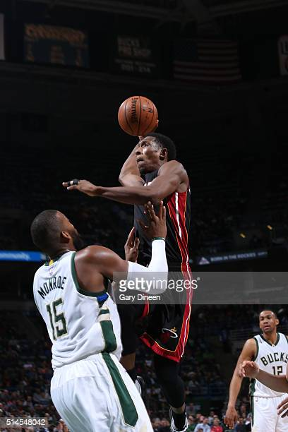 Josh Richardson of the Miami Heat goes for the dunk against the Milwaukee Bucks during the game on March 9 2016 at BMO Harris Bradley Center in...