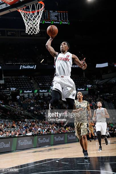 Josh Richardson of the Miami Heat goes for the dunk against the San Antonio Spurs during the game on March 23 2016 at ATT Center in San Antonio Texas...