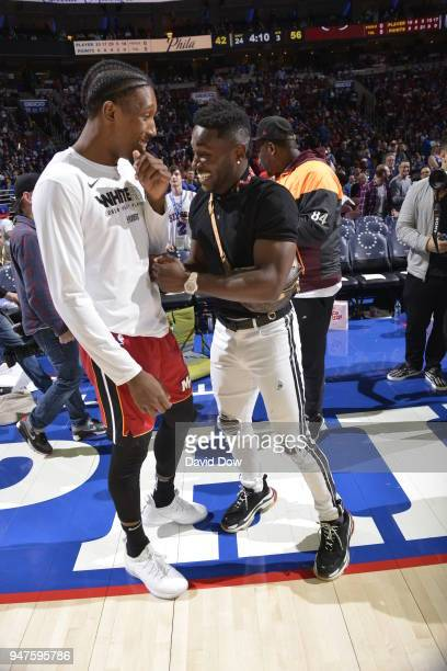 Josh Richardson of the Miami Heat greets Antonio Brown after the game against the Philadelphia 76ers in Game Two of Round One of the 2018 NBA...