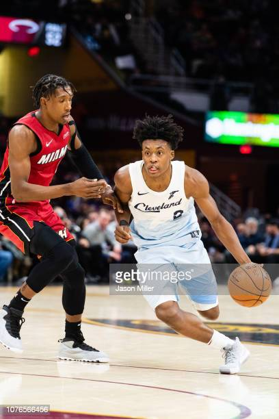 Josh Richardson of the Miami Heat guards Collin Sexton of the Cleveland Cavaliers during the second half at Quicken Loans Arena on January 2 2019 in...