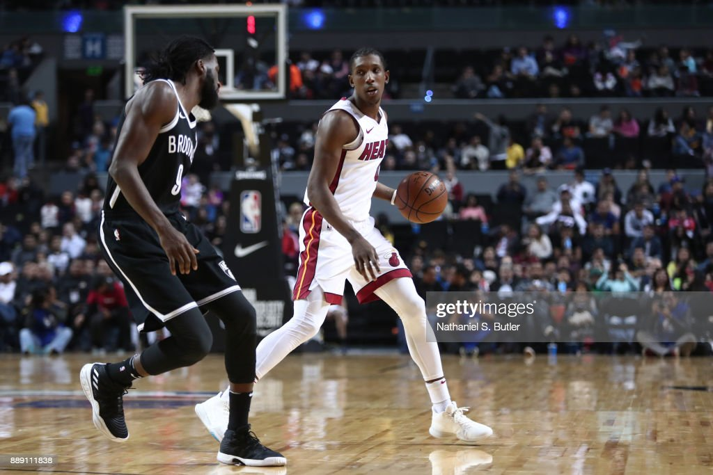 Josh Richardson #0 of the Miami Heat handles the ball against the Brooklyn Nets as part of the NBA Mexico Games 2017 on December 9, 2017 at the Arena Ciudad de México in Mexico City, Mexico.