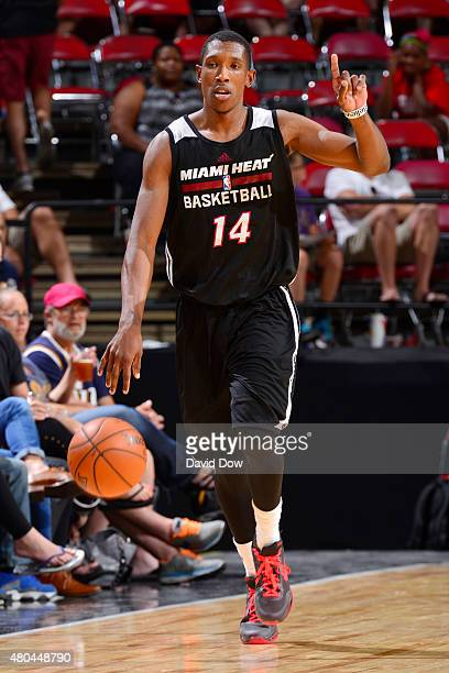 Josh Richardson of the Miami Heat handles the ball against the Utah Jazz on July 11 2015 at the Cox Pavilion in Las Vegas Nevada NOTE TO USER User...