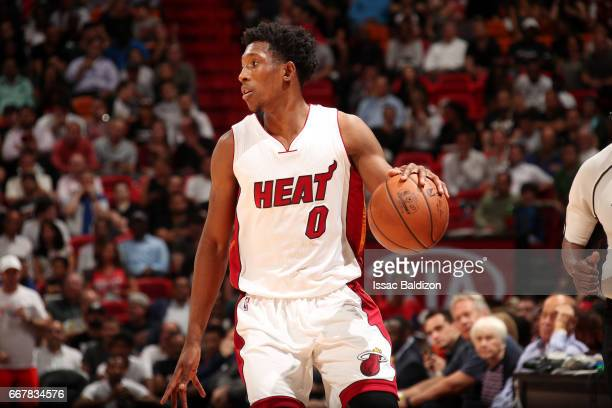 Josh Richardson of the Miami Heat handles the ball during the game against the Washington Wizards on April 12 2017 at AmericanAirlines Arena in Miami...