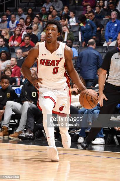 Josh Richardson of the Miami Heat handles the ball during the game against the LA Clippers on November 5 2017 at STAPLES Center in Los Angeles...