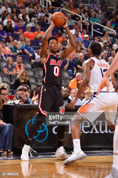 Josh Richardson of the Miami Heat handles the ball during the game against the Phoenix Suns on November 8 2017 at Talking Stick Resort Arena in...