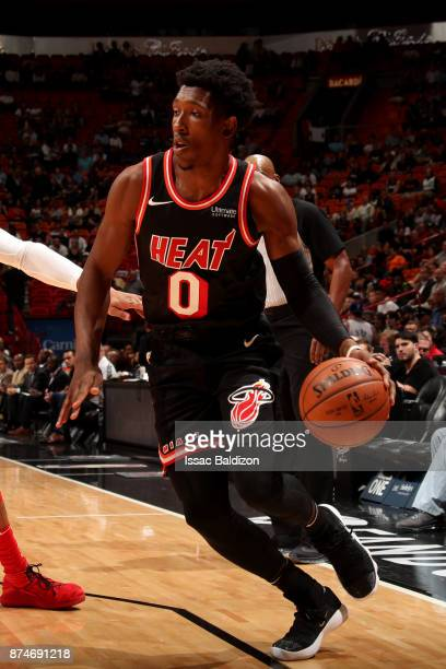 Josh Richardson of the Miami Heat handles the ball during the game against the Washington Wizards at the American Airlines Arena on November 15 2017...